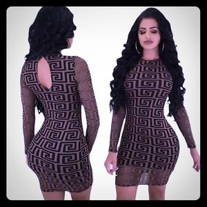 New stretchy club dress brown